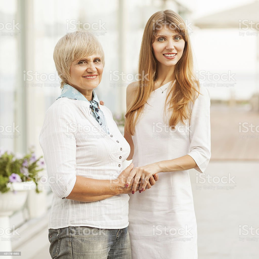 Adult mother and daughter royalty-free stock photo
