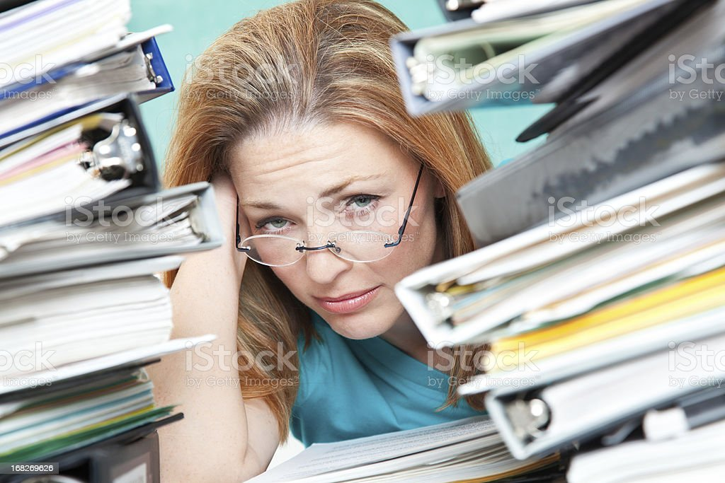 Adult Student or Teacher Frustrated With Work To Do royalty-free stock photo