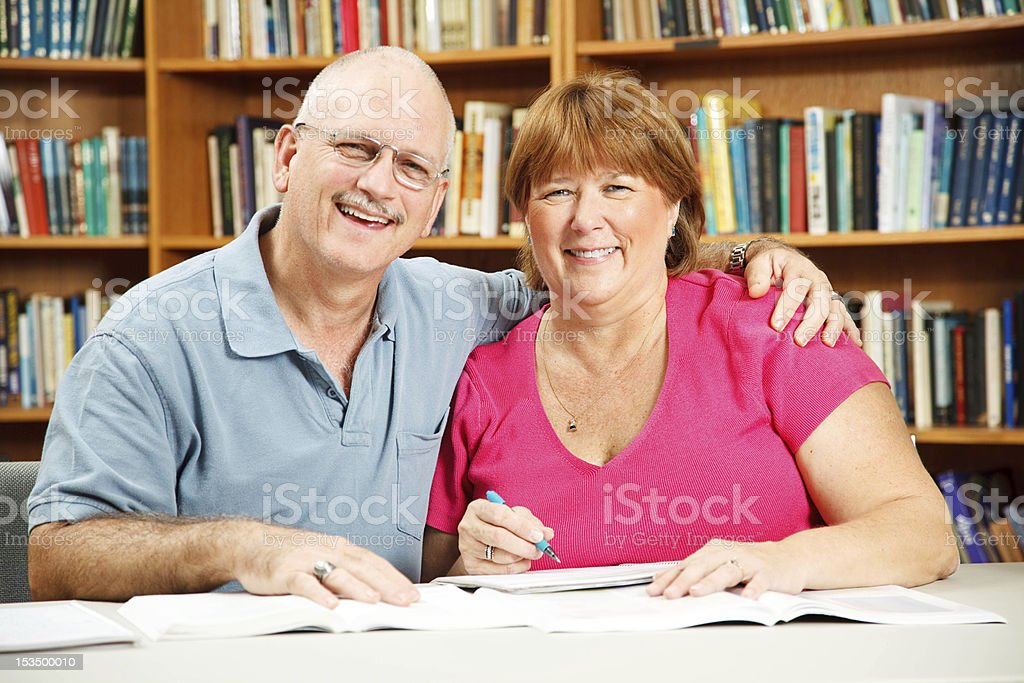 Adult Students in Library royalty-free stock photo