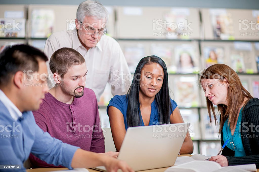 Adult Students in University stock photo