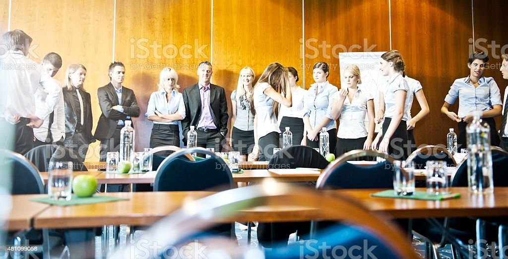 Adult students on seminar stock photo