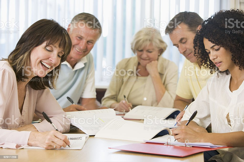 Adult students studying stock photo