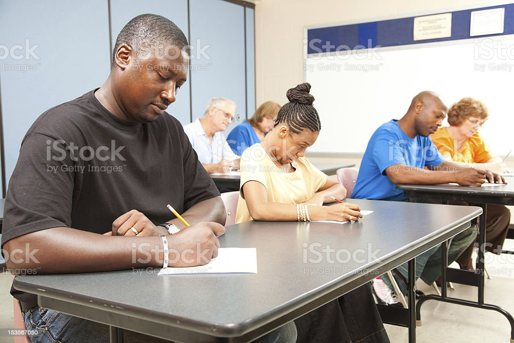 Adult Students Taking Test stock photo