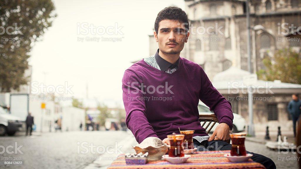Adult Turkish Man Drinking Tea in Istanbul stock photo