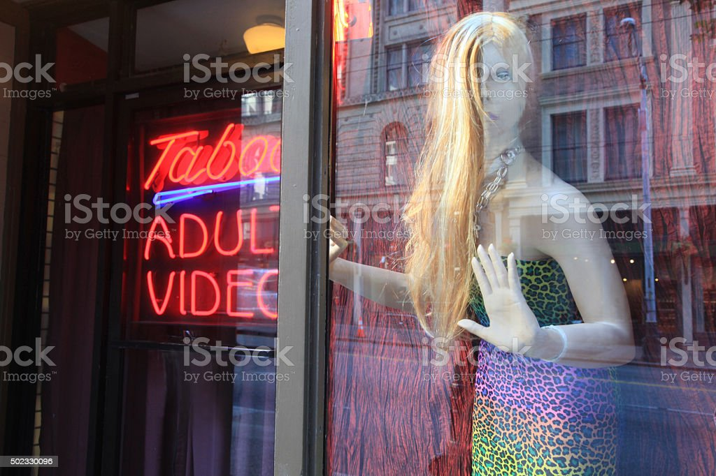 adult video store stock photo