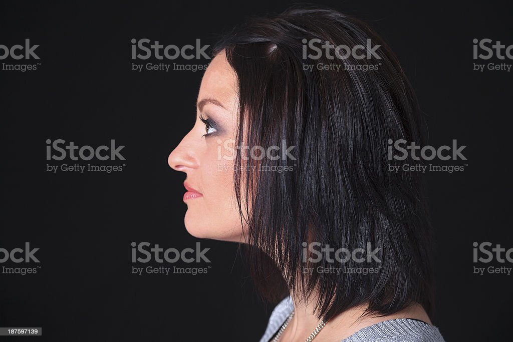 Adult Woman - Black Background Side royalty-free stock photo