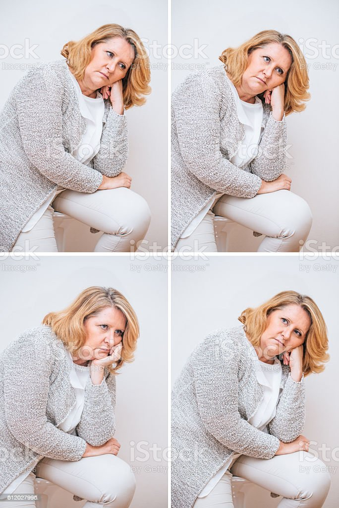 Adult woman composite with various facial expressions. Part of a...