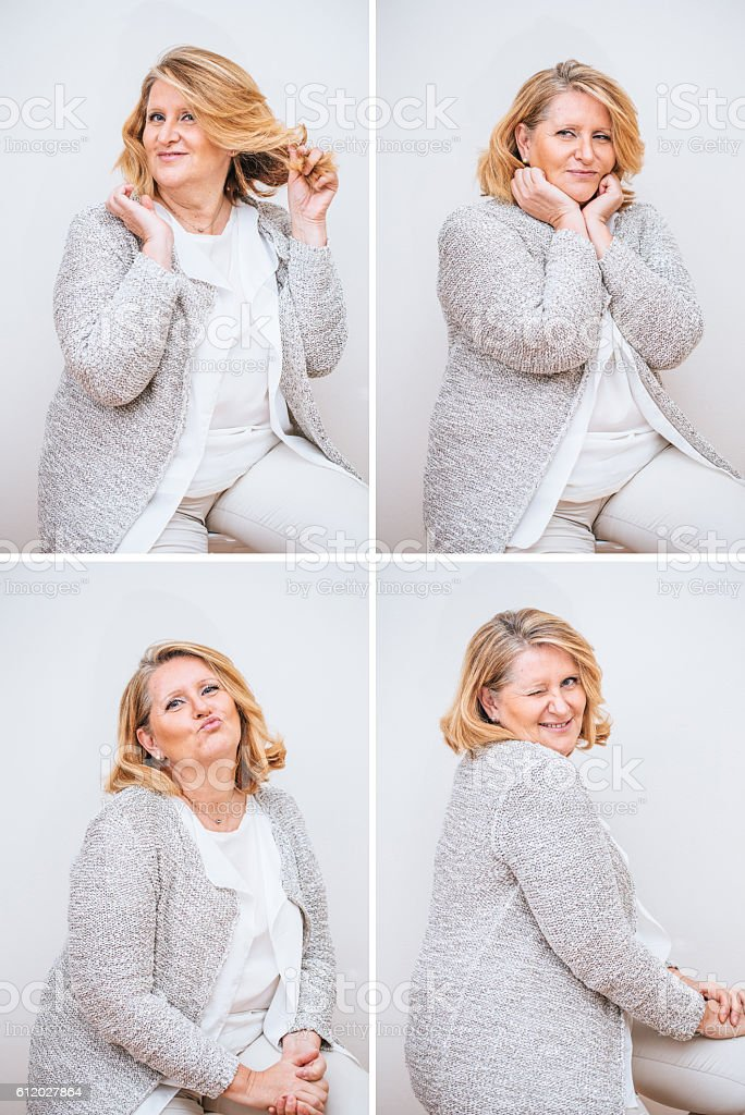 Adult Woman Composite with Seductive Facial Expression stock photo