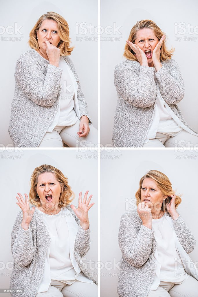 Adult Woman Composite with Stressed Facial Expression stock photo