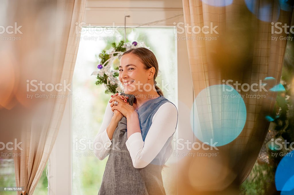 Adult Woman Getting Ready for Christmas stock photo