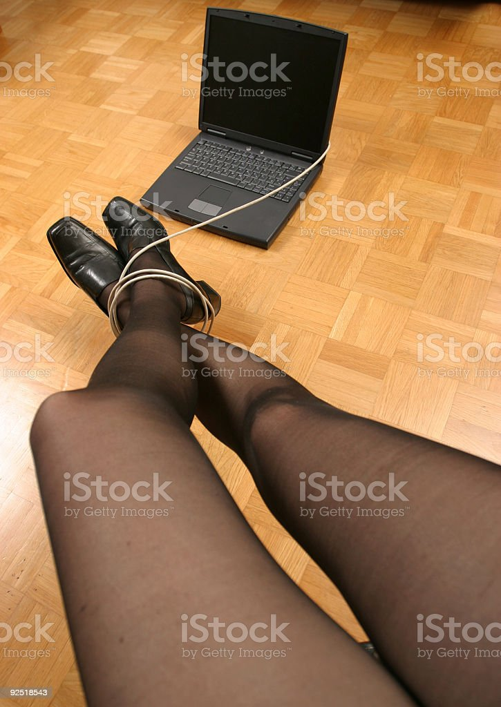 Adult woman hooked to comp royalty-free stock photo