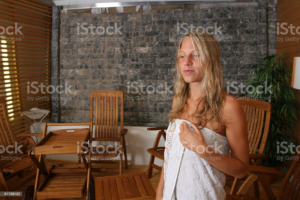 Adult woman in towel royalty-free stock photo