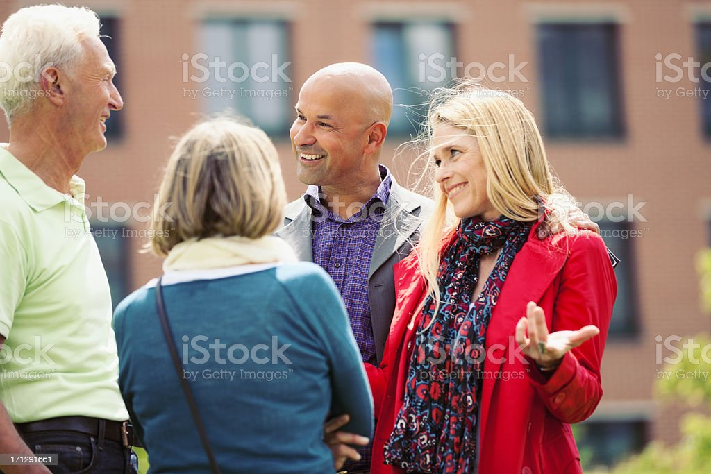 Adult Woman Introducing Her Boyfriend stock photo