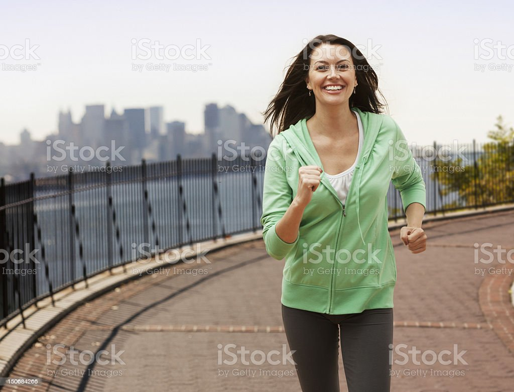 Adult woman jogging royalty-free stock photo