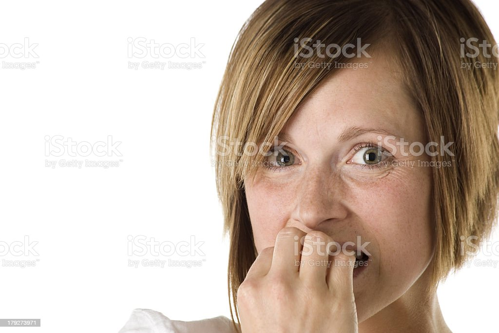 Adult Woman Looks Scared Closeup royalty-free stock photo