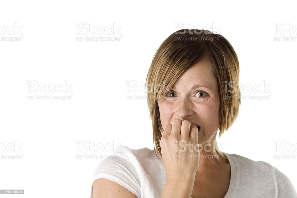 Adult Woman Looks Scared royalty-free stock photo