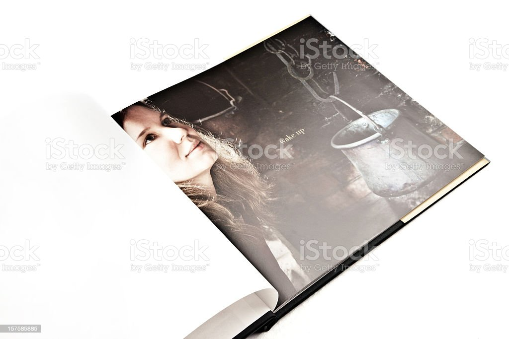 Adult Woman Picture on a Book Page stock photo