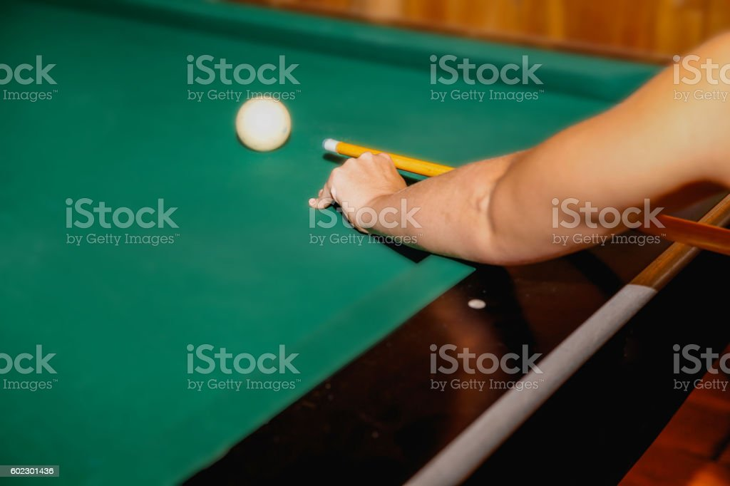 adult woman playing snooker stock photo