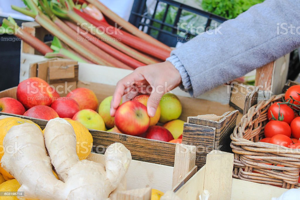 Adult woman selecting apple in the fruit market stock photo