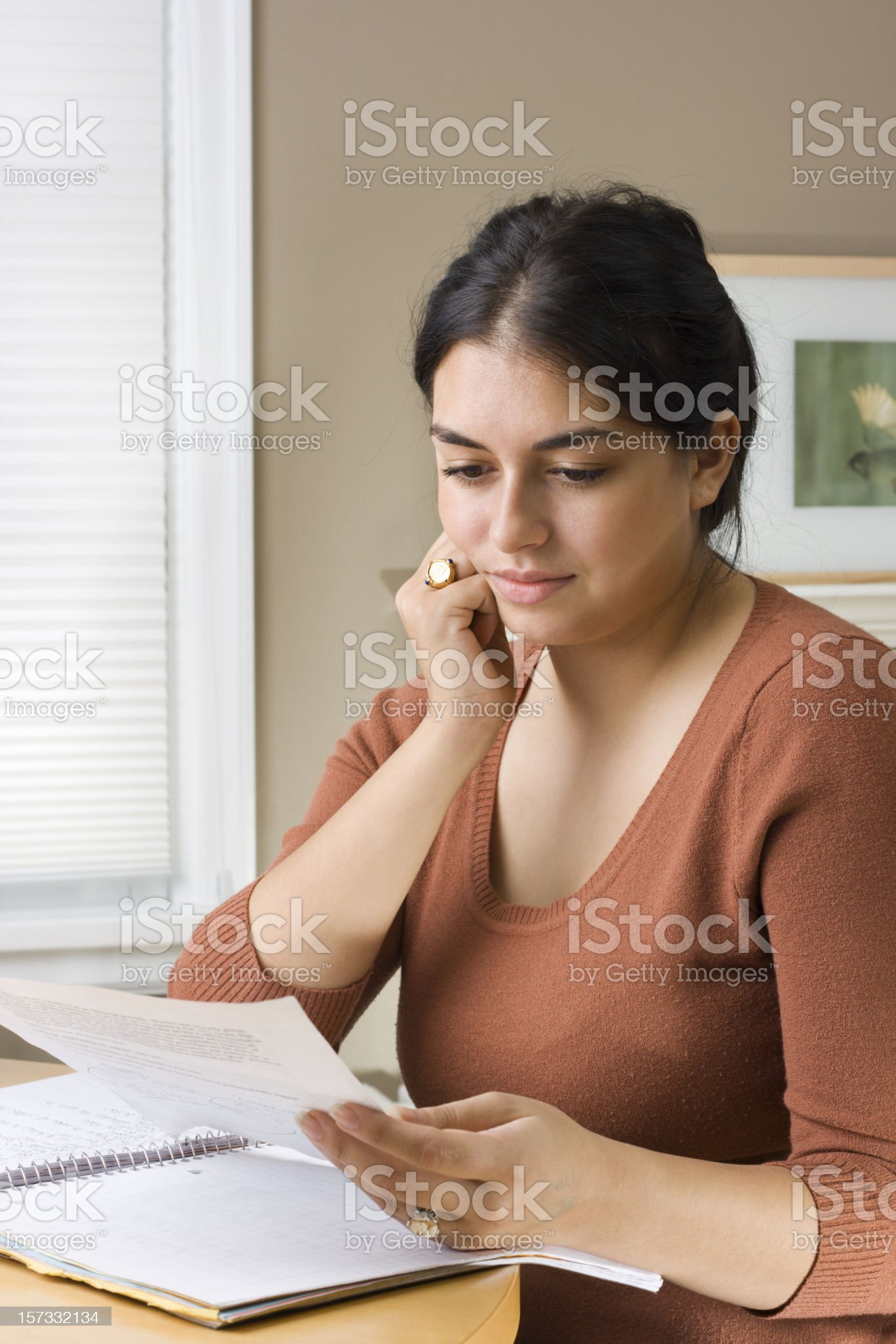 Adult Woman Student Studying for University Exam, Thinking and Learning royalty-free stock photo