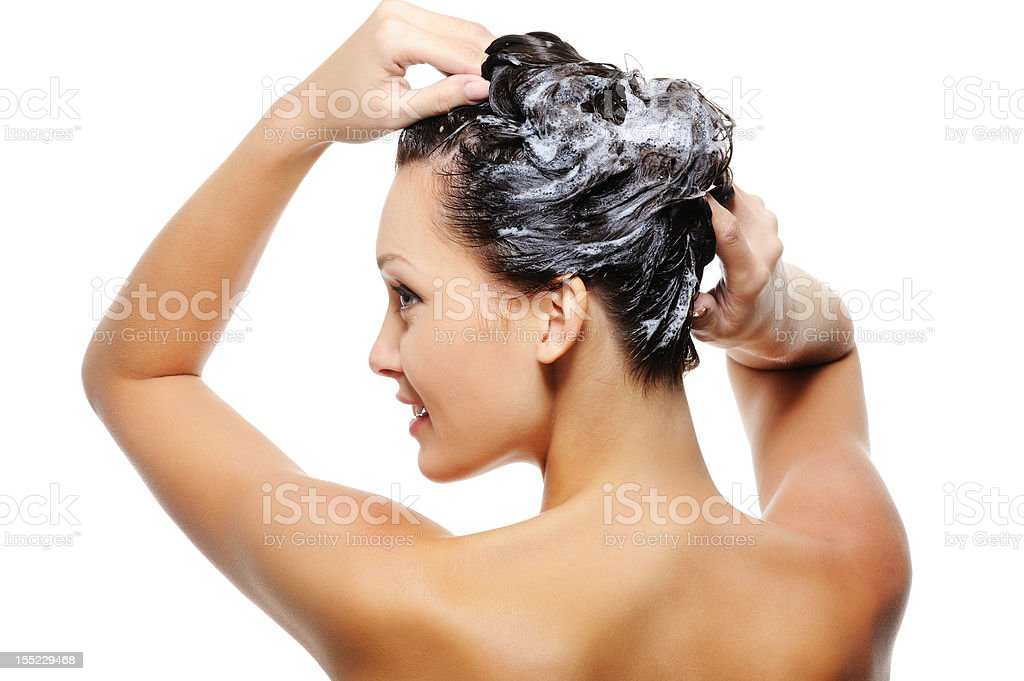 Adult woman washing head stock photo