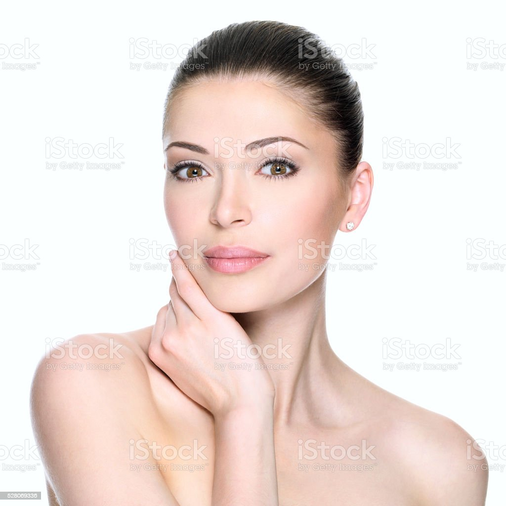 Adult woman with beautiful face stock photo