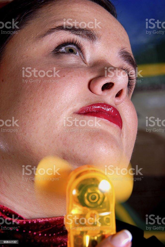 adult woman with fan portrait stock photo