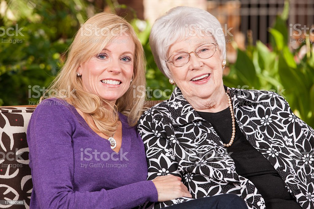 Adult Woman With Her Senior Mother royalty-free stock photo