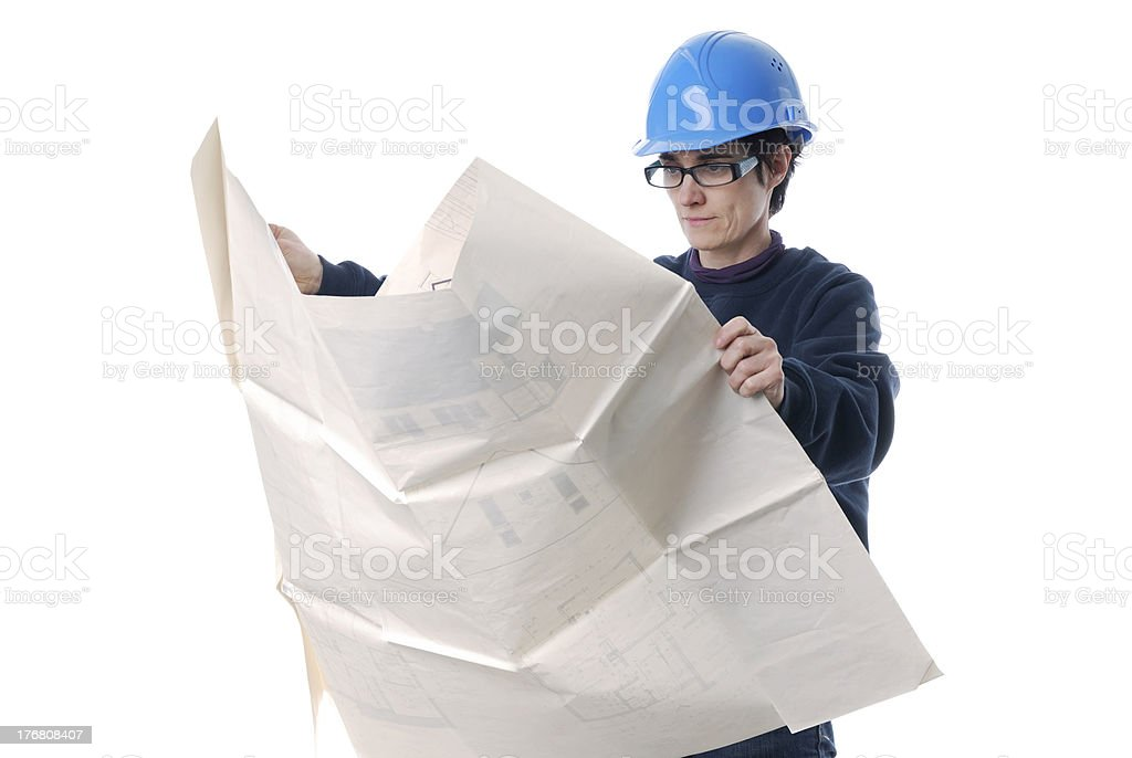 adult woman with house plans and protection helmet stock photo