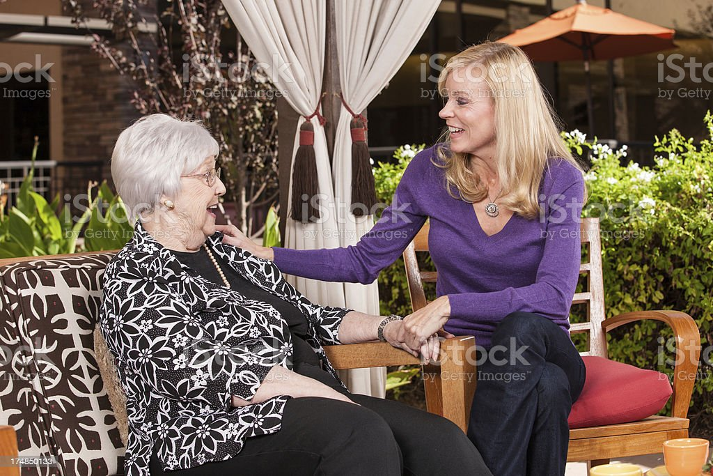 Adult Woman With Mature Mother royalty-free stock photo
