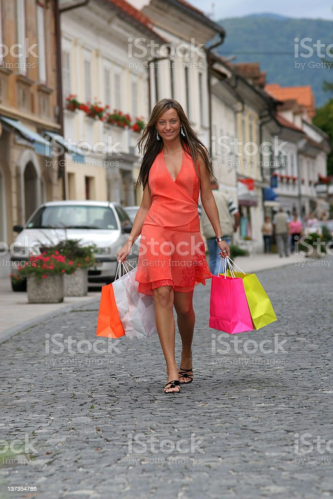 Adult young woman shopping royalty-free stock photo