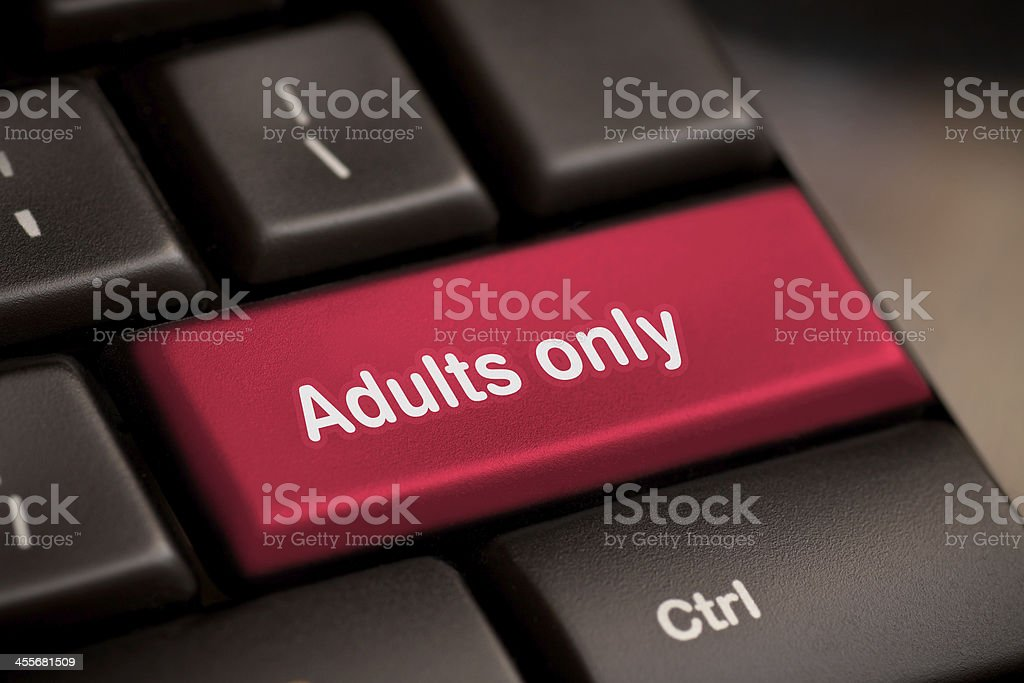 adults only message on enter key royalty-free stock photo
