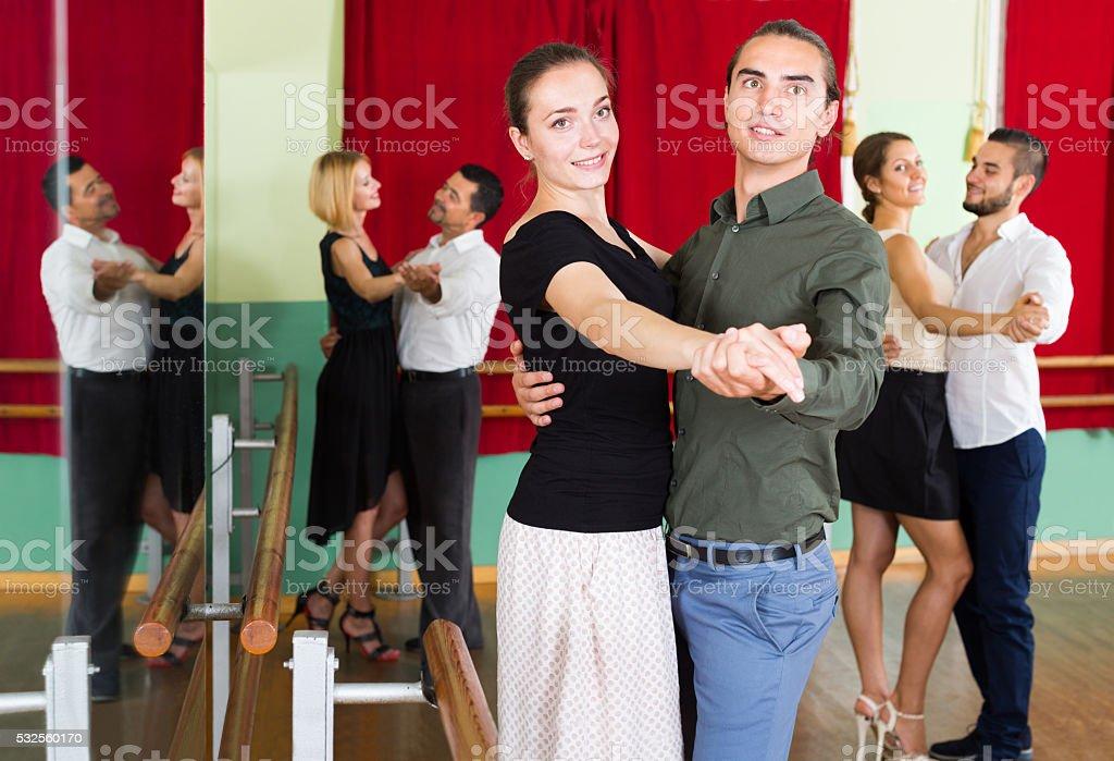 adults  people having dancing class stock photo