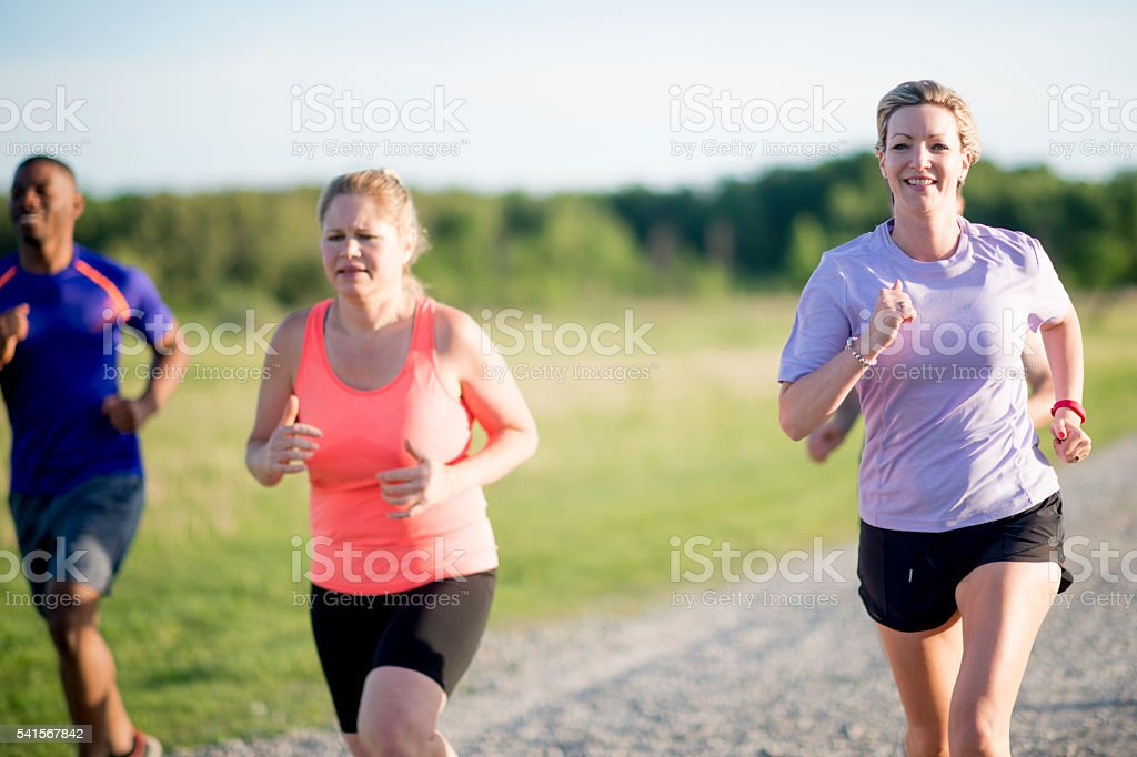Adults Working Out Together stock photo
