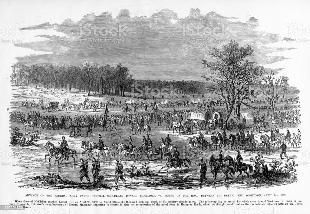 Advance of General McClellan, Yorktown, Virginia, 1862 Civil War Engraving stock photo