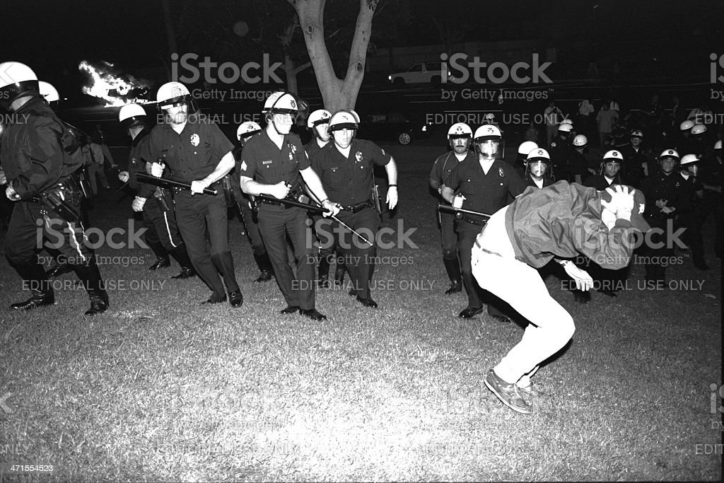 LAPD Advance on Protester stock photo