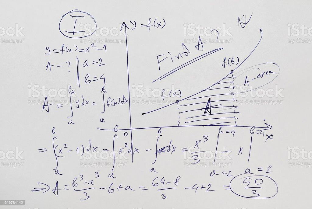 Advanced mathematics example stock photo