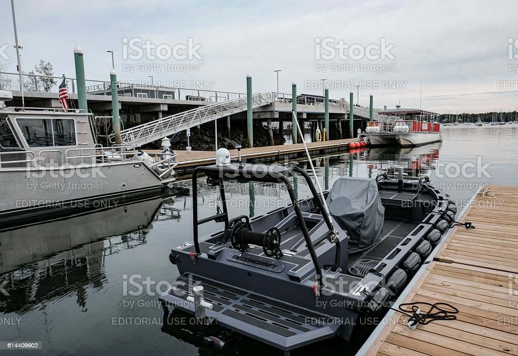 Advanced Motorboat Seen In Salem Harbor, MA stock photo
