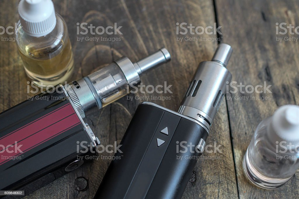 Advanced personal vaporizer or e-cigarette stock photo