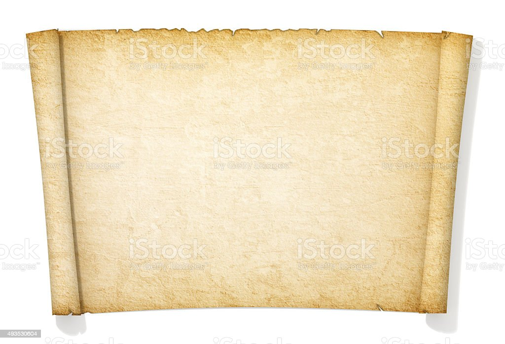 Advanced yellowed and old roll of paper. stock photo