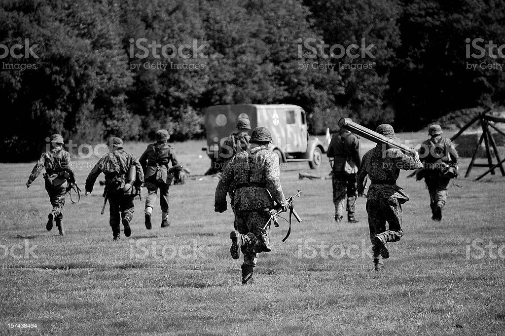WW2 Advancing Army. stock photo