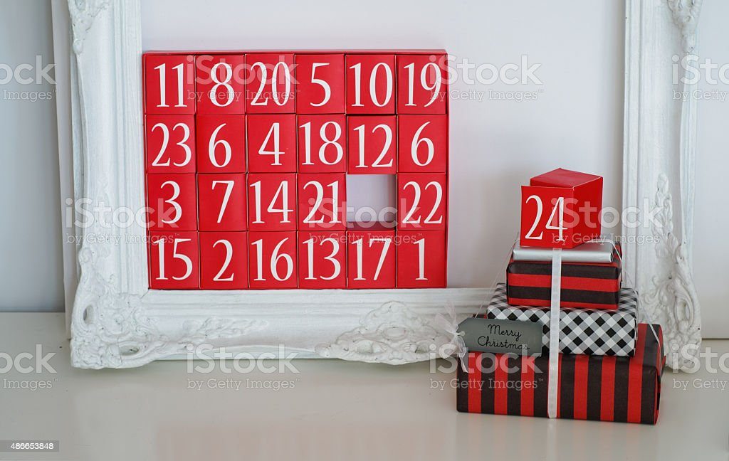 Advent Calendar and Christmas Presents stock photo