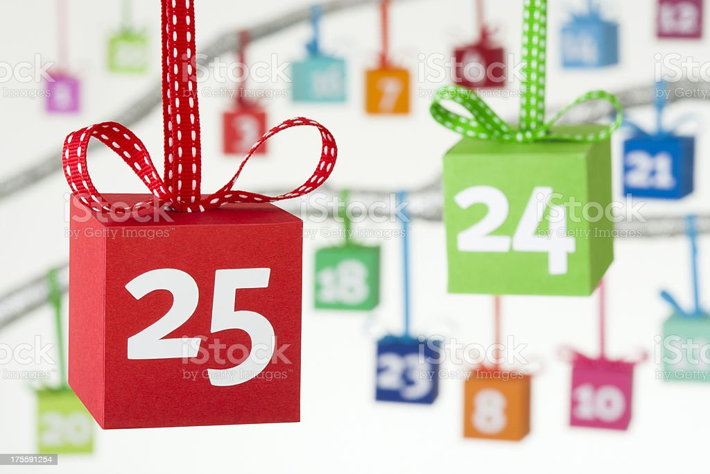 Advent calendar colourful gift boxes stock photo