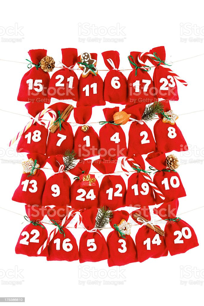 Advent calendar leading up to Christmas with gifts inside stock photo