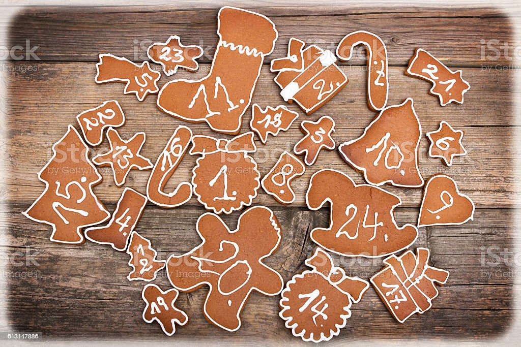 Advent calendar made of  gingerbread stock photo
