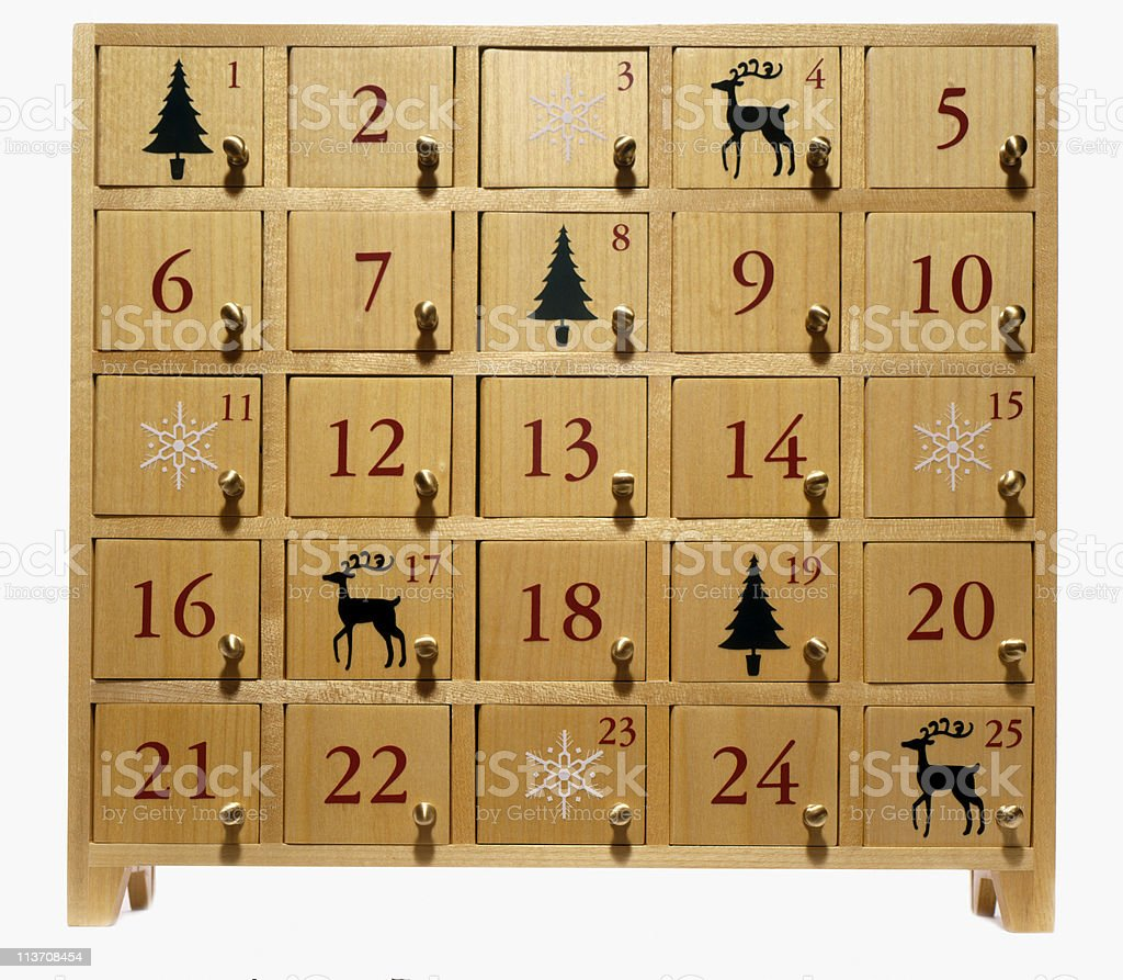 advent calendar on white stock photo