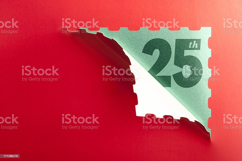 Advent calendar opened on the 25th December stock photo