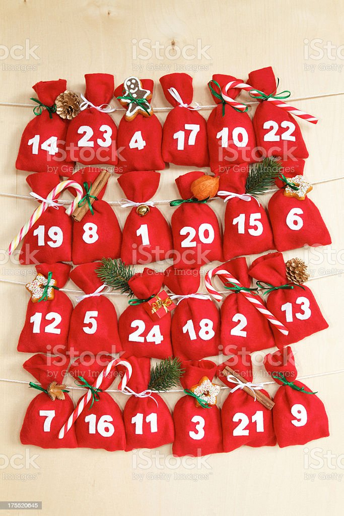 advent calendar with little bags stock photo