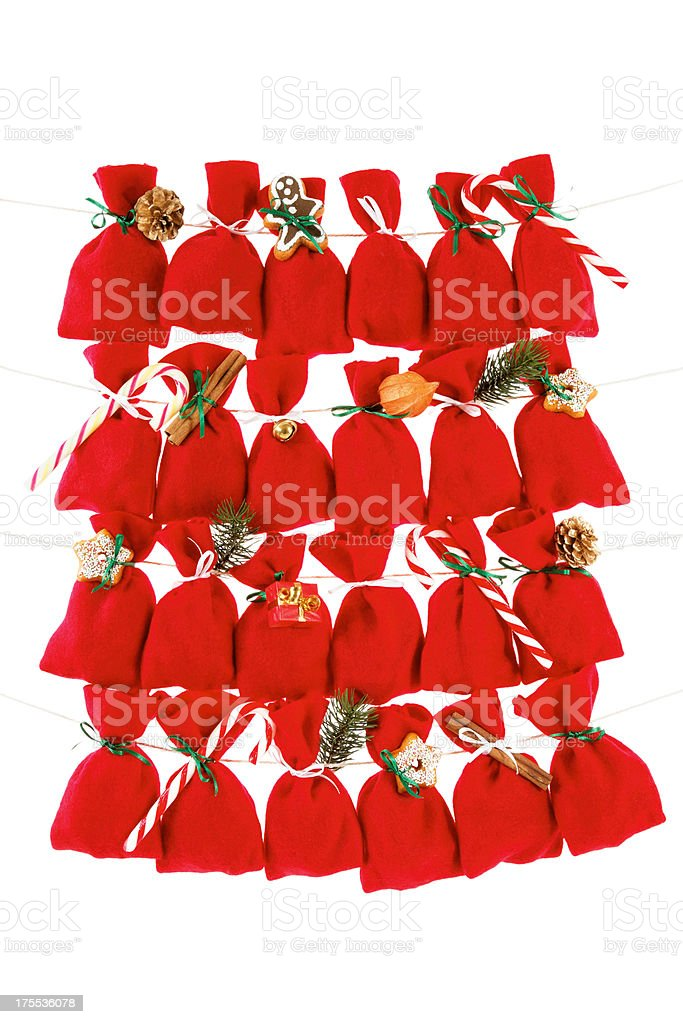 advent calendar with little bags without numbers stock photo