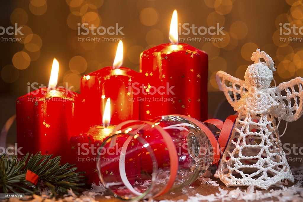 advent candles with champagne glass and angel royalty-free stock photo